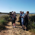a group of people birdwatching