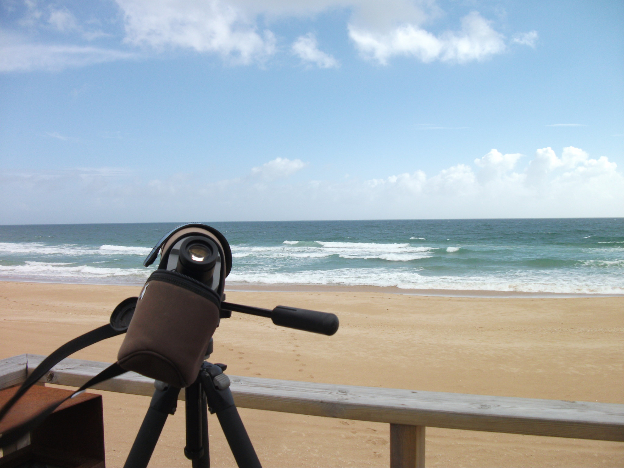 A telescope looking at the sea