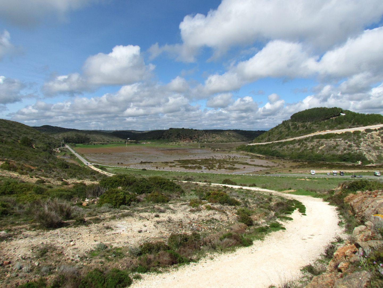 wetland, road, hills